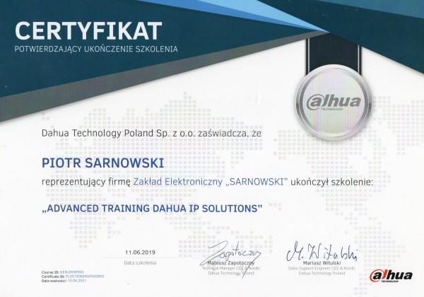 Certyfikat advanced training dahua ip solutions