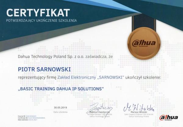 Certyfikat basic training dahua ip solutions