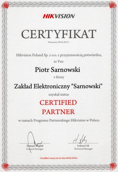 Certyfikat programu partnerskiego Hikivision