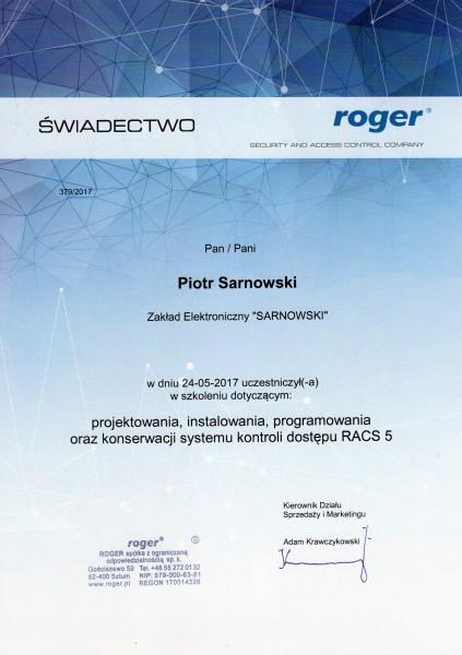 Certyfikat projektowania, konfiguracji i obsługi systemu rejestracji czasu pracy RACS 5