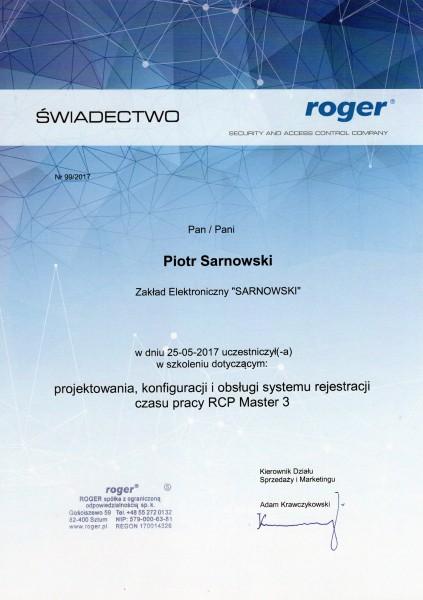 Certyfikat projektowania, konfiguracji i obsługi systemu rejestracji czasu pracy RCP Master 3