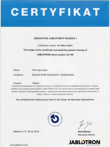 Certyfikat szkolenie jablotron poziom 1